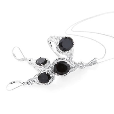 17.45 ct Thai Black Spinel Platinum Over Silver Earrings Ring Sz 7 Pendant Chain