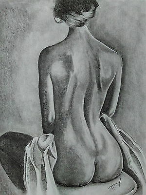 Nude Female Body In Back Pencil Drawing 11x14 Original and Signed Picture Art