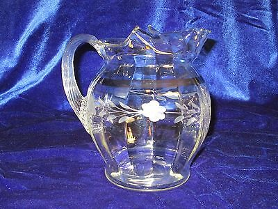 Macbeth Evans Antique Ice Lip Pitcher, hand blown and decorated with floral