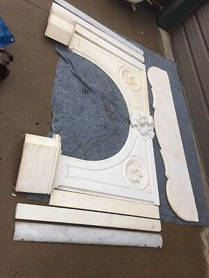 Antique 6 ' Carrera White Marble Mantel Carved Fruit