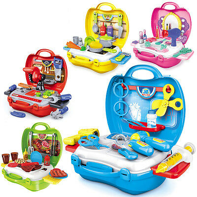 Kids Pretend Role Play Children Toy Set Kitchen Tools BBQ Doctor Makeup Case