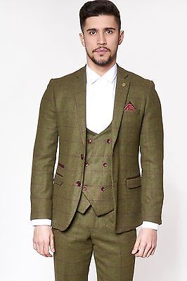 Mens Marc Darcy Designer Tweed Olive Green Wine Check Blazer Country Jacket