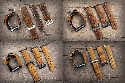 Quality Genuine BULL Leather Watch Strap Band for Apple Watch Series 1 2 3 42mm