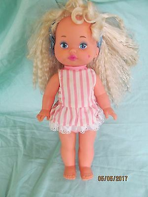 """1988 Mattel Lil' Miss Makeup 13"""" doll with crimped hair"""