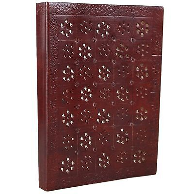 Stamped Leather Journal Unlined Blank Antique Vintage Notebook Diary Sketchbook