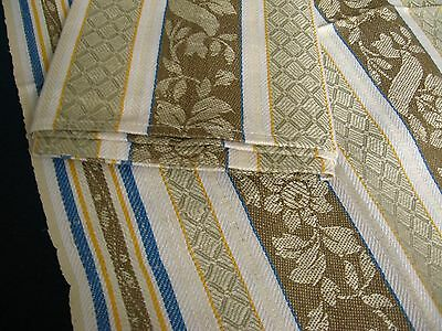 2x old linen Towels / Runners ecru coloured floral pattern with blue yellow