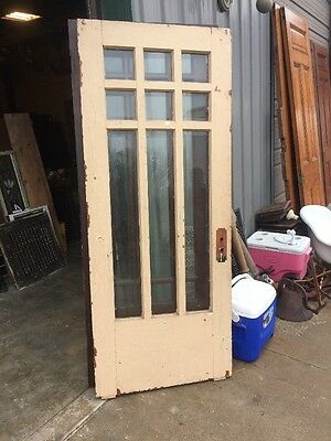 An 73 Antique Painted Oak Beveled Glass Prairie Style Entrance Door 32 X79.25