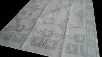 old unused linen damask Towel / Runner beautiful Art Nouveau graphic design