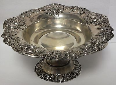 Antique Sterling Silver Strawberry Pattern Candy / Nut Dish Bowl - JX222