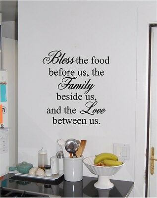 Vinyl Decal Wall Sticker Bless the food before us Decor Canteen Kitchen g124