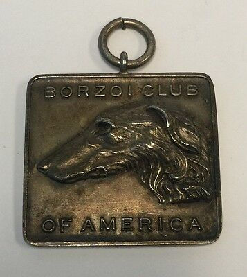Antique BORZOI CLUB OF AMERICA Sterling Silver Figural Dog Medal Pendant