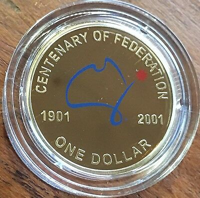 2001 Federation Proof Coloured One Dollar $1 Coin in Capsule Stunning Release