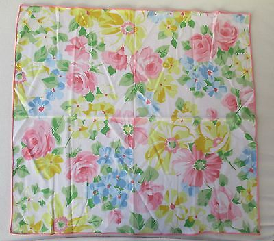 """Pretty Summer Floral Cloth Napkin With Pink Edging 18"""" Square"""