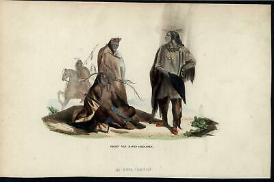 Group of Crow Indians Native Americans c.1852 antique hand color costume print