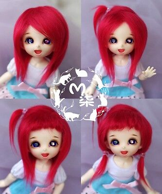"""5-6"""" Red Faux Fur Wig 1/8 BJD Doll Dollfie Monster high Lati yellow"""