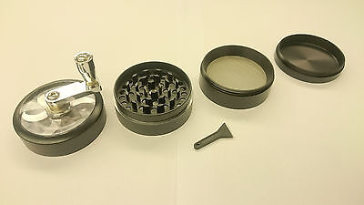 """Black Herb Grinder w/ Handle Spice Crusher for Tobacco Hand Muller 2"""" 4 Layers"""