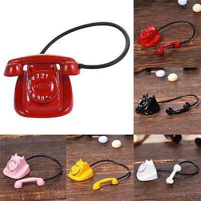 Metal Phone Telephone Vintage Black for 1/12 Dollhouse Red Miniature Accessories