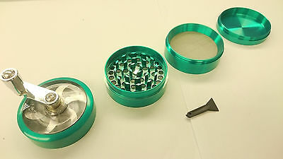 "Green Herb Grinder w/ Handle Spice Crusher for Tobacco Hand Muller 2"" 4 Layers"