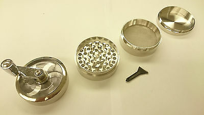 "Silver Herb Grinder w/ Handle Spice Crusher for Tobacco Hand Muller 2"" 4 Layers"