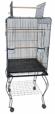 YMLG-600HBLK-YML 20-Inch Open Top Parrot Cage with Stand, Black