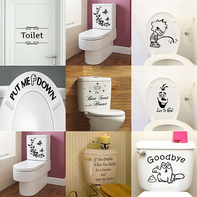 DIY Bathroom Quote Wall Sticker Flower Funny WC Toilet Seat Vinly Art Decal
