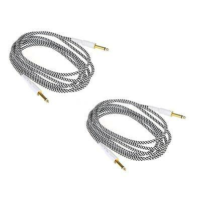2PCS 10FT Black & White Cloth Braided Tweed Guitar Cable Cord Durable F5D6
