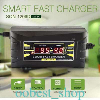 12V 10A 6A Smart Fast Lead-acid Battery Charger Car Motorcycle LCD Display EU/US
