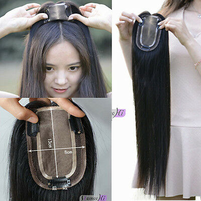 8cm*13cm silk base invisible clip in Virgin hair piece long human hair topper