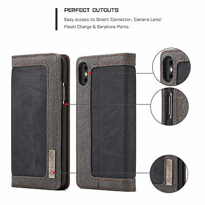 For iPhone X 8 7 Plus Leather Canvas Magnetic Wallet Card Case Flip Stand Cover