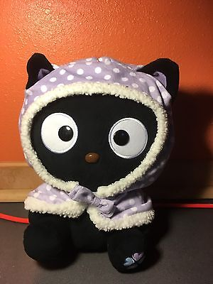 "Sanrio Hello Kitty Plush 13"" Black Cat Chococat Purple Polka Dot Jacket Cape"