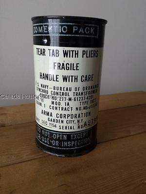 SEALED 1954 Tin Can U.S. Navy - BU. of Ordnance Synchro Control Transformer