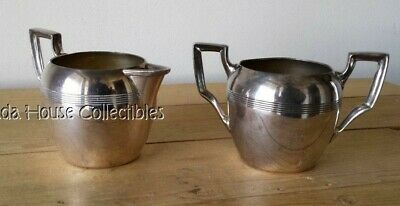 Vtg Benedict Proctor Art Deco Style Metal Creamer & Sugar Bowl - Canadian Made