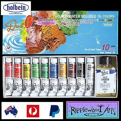 Holbein Duo-Aqua - 10 x 10ml Tubes + 40ml Linseed Oil Starter Set