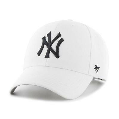 NEW New York Yankees White MVP Cap by 47 Brand - Adjustable Curved Visor