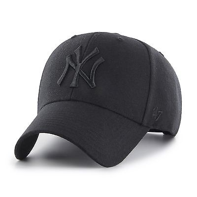 NEW New York Yankees Black MVP Cap by 47 Brand - Adjustable Curved Visor