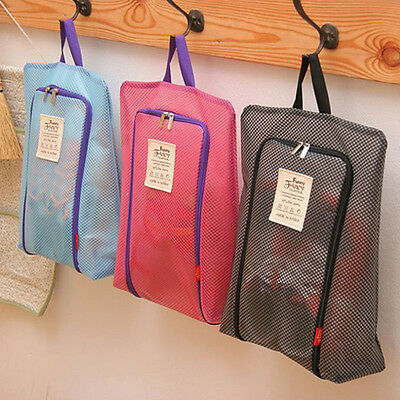 3 Colors Portable Travel Shoe Bag Zip View Window Pouch Storage Waterproof Bags
