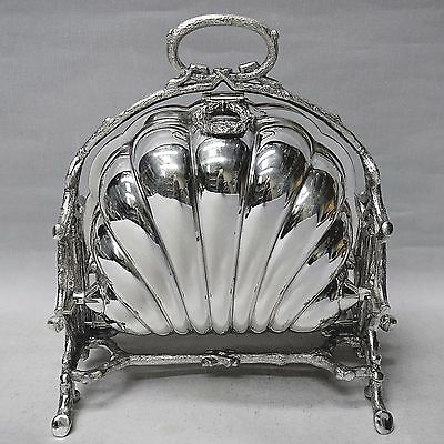 Victorian Silver Plated Folding Biscuit Box by WALKER & HALL 1880. Stock ID 8853