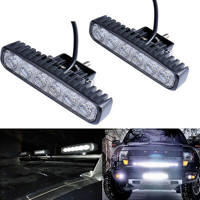 2x 18W LED Work Lights Bar Driving Lamp 12-24V Flood Spot Combo Offroad 4WD SUV