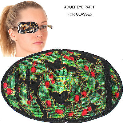 Medical Eye Patch for Glasses, GREEN CHRISTMAS, Soft and Washable