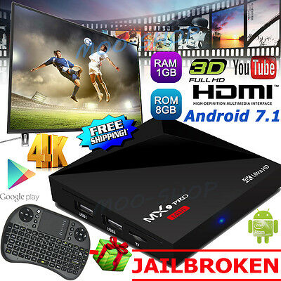 4K MX9 PRO Smart TV Box 1G+8G Android 7.1 Quad Core Free Sports Movies+Keyboard