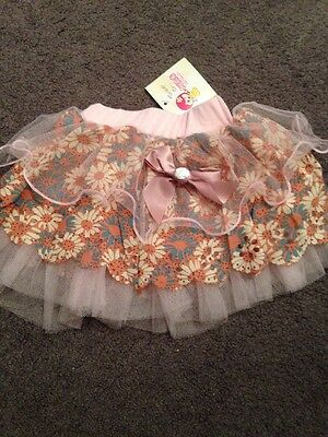 BNWT Baby Girls Gorgeous Lace And Cotton Layered Skirt Size 0-1