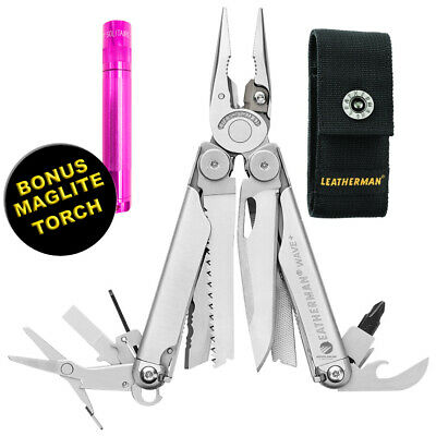 Leatherman Wave Stainless Steel Multitool + Nylon Sheath + Bonus Torch