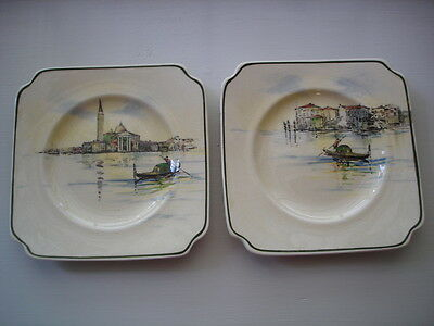 ANTIQUE VINTAGE PORCELAIN CHINA ROYAL DOULTON VENETIAN GONDOLIERS pr. of PLATES