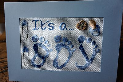 "Completed Cross Stitch Hand Made Card New Baby Boy Birth 8"" X 6"""