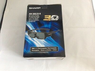 Sharp Rechargeable 3D Glasses AN-3DG20-B Brand New In Box