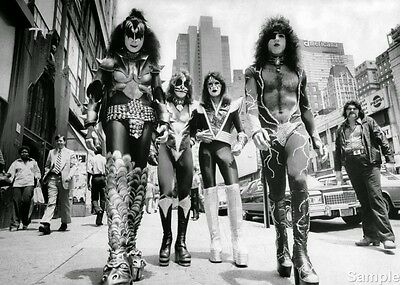 Kiss Glam Rock Icons Glossy Black & White Publicity Music Photo Print A4