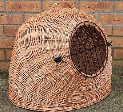 hand-made  LARGE - Wicker Pet Carrier Igloo /Dog Cat Rabbit, Natural Crate