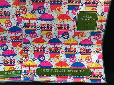 Vintage Norcross Lot Of 2 Gift Wrap Paper Shower Flowers Umbrellas Cart Colorful
