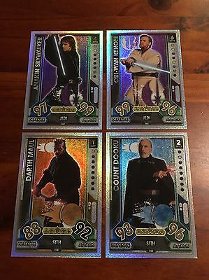 Star Wars - Force Attax 2017 (TOPPS collector cards) 4 x Rainbow Foiled Cards