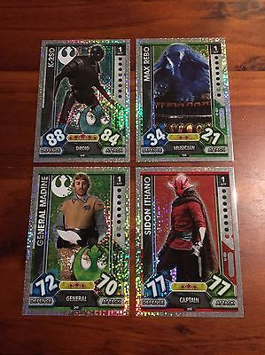 Star Wars - Force Attax 2017 (TOPPS collector cards) 4 x Hologram Foil Inserts